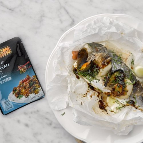 Seafood en Papillote with Black Bean Garlic Sauce