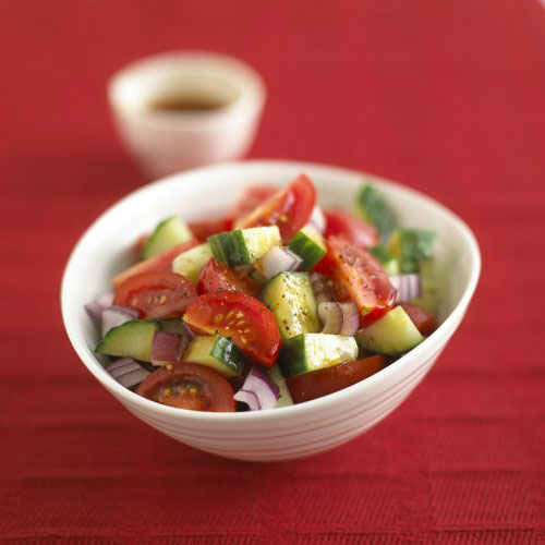 Cucumber & Tomato Salad with Spicy Plum Sauce (Vegan)