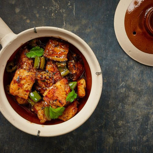 Aubergine Green Chilli & Fish Tendon Claypot By Jeremy Pang