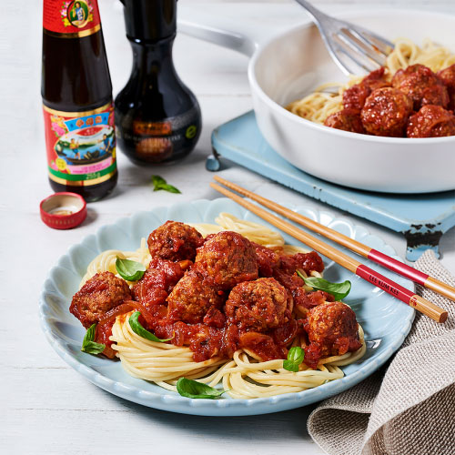 Chinese Spaghetti and Meatballs By Sandia Chang