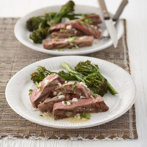 Pan Fried Steak with Roasted Broccoli with a tangy shallot sesame dressing