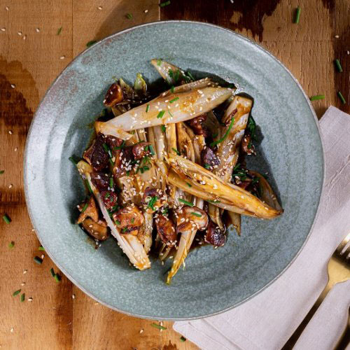Hoisin Chicory Wok with Shiitake