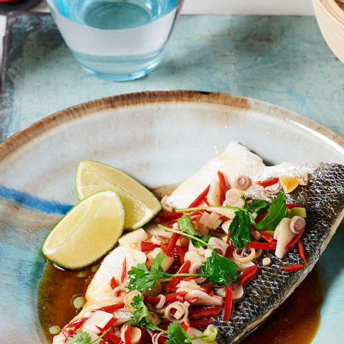 Lemongrass and Sesame Steamed Sea Bass By Jeremy Pang