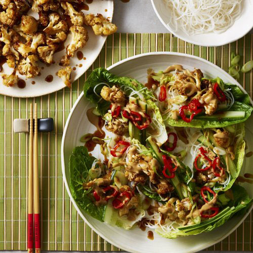 Sweet Hoisin Cauliflower with Glass Noodles and Lettuce Cups