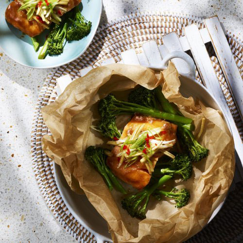 Ginger Salmon with Oyster Sauce & Broccoli