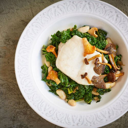Pan-fried Hake with Mushrooms, Beans, Kale and Sesame Dressing