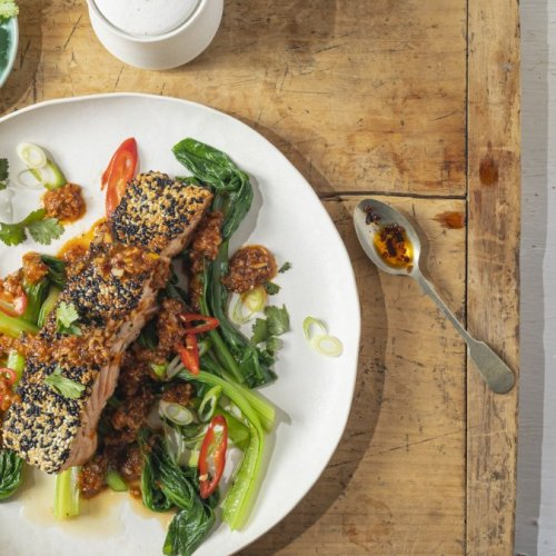Thai Style Salmon with Sesame Crust