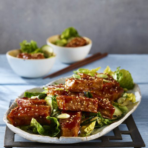 Crispy Tofu with Spicy Sichuan Glaze Salad