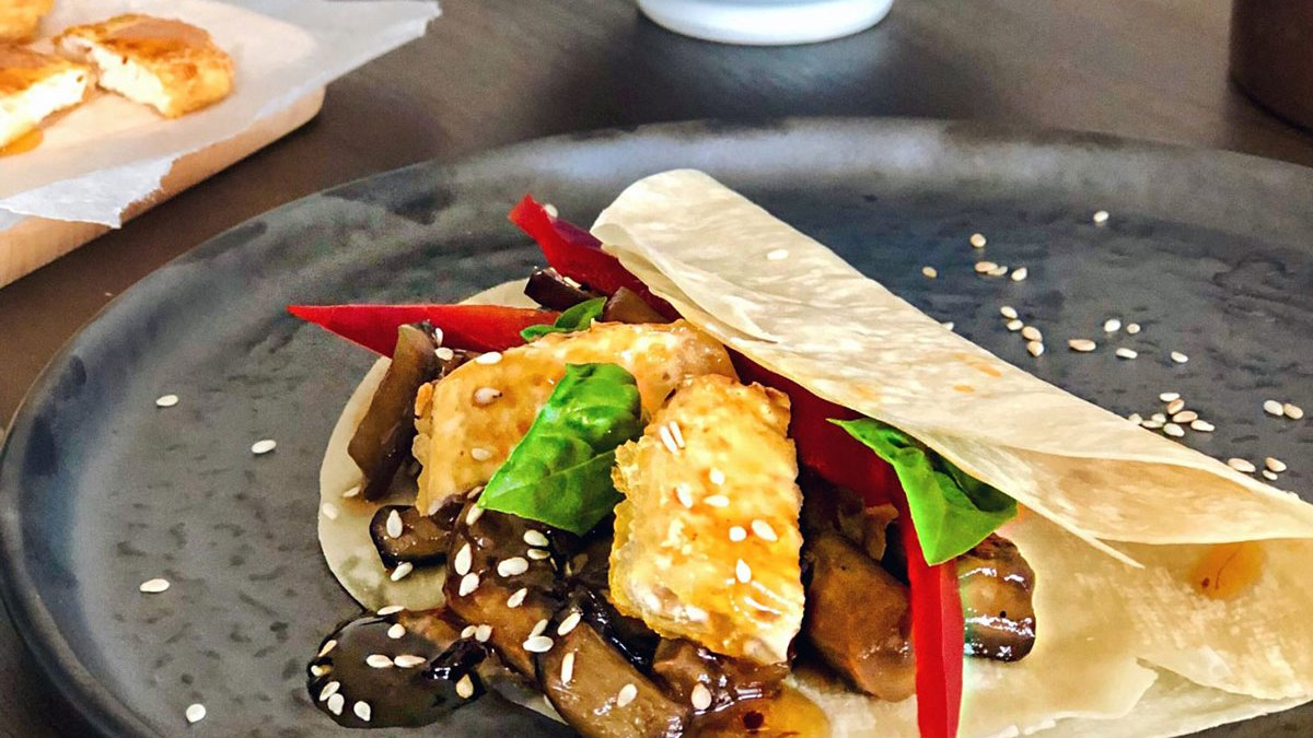 Vegan Peking Duck: Pancakes with Crispy Tofu and Hoisin Aubergine
