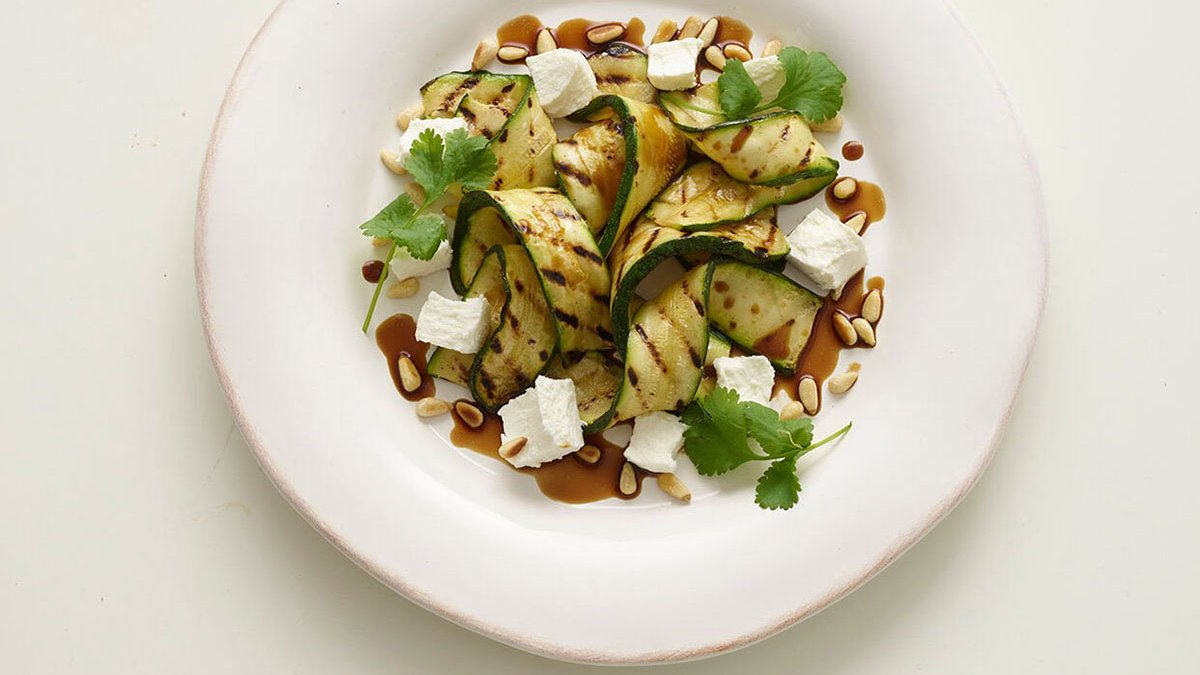 Griddled Courgettes With Soft Cheese