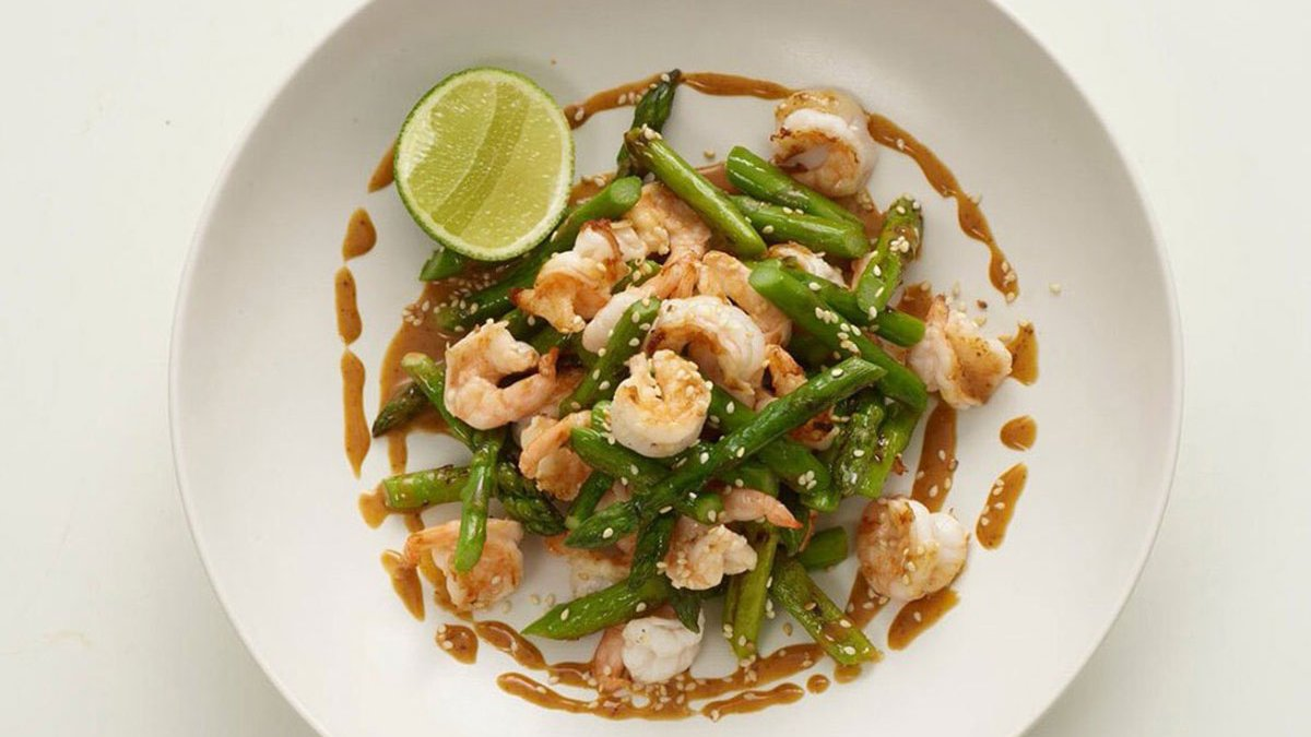 Pan Fried Wasabi King Prawns with Asparagus