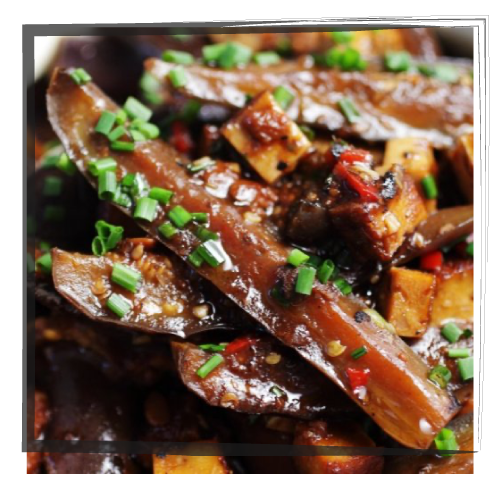 sweet soy silky aubergines in claypot
