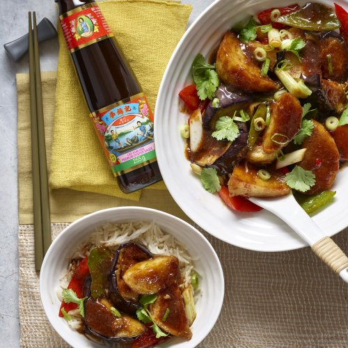 Aubergine, Potato & Peppers Braised in Oyster Sauce